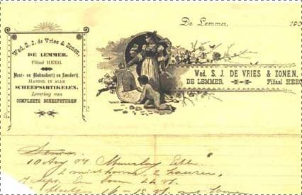 Afb. Een factuur uit 1904 van de Weduwe de Vries